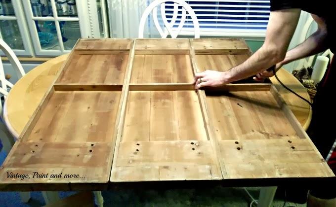 Spring Mantel - wood shelf to faux pallet board