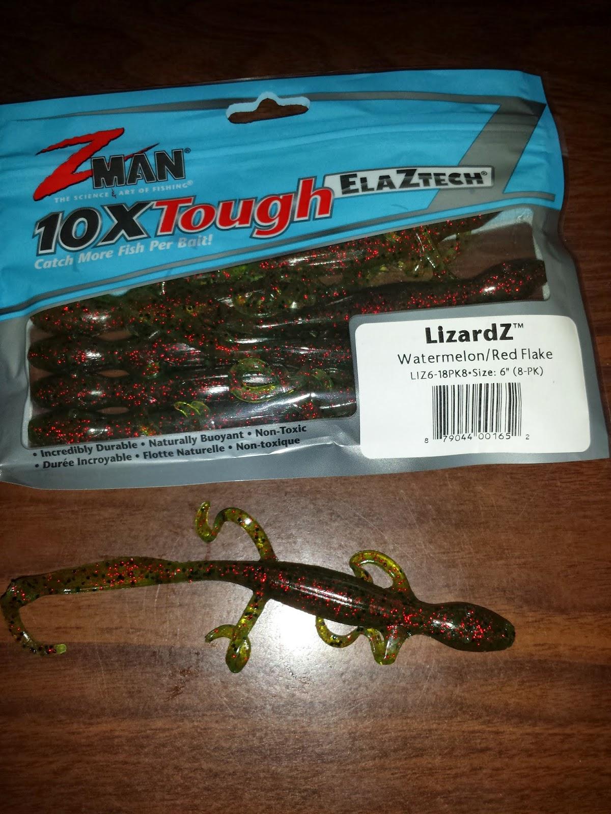 "Z-Man LizardZ 6/"" Black Blue Flake 8 Pack Lizard Soft Plastic LIZ6-02 Bass Lure"