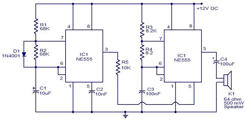 ne555 siren circuit audio wiring diagram