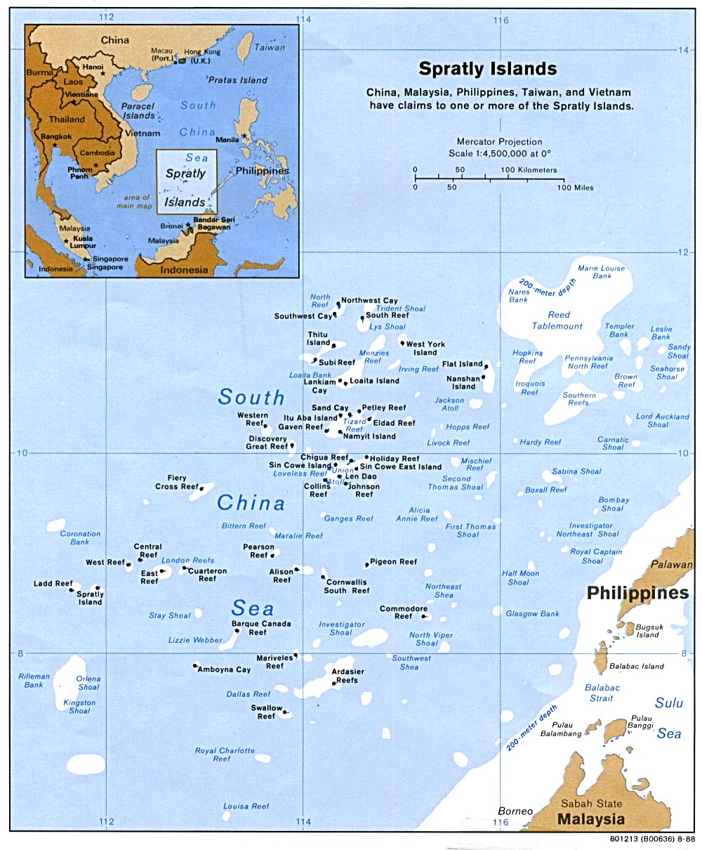 spratly islands dispute The south china sea including the spratly islands, paracel islands and scarborough shoal who is fighting over the area china and the us appear to be increasingly assertive over the dispute in the south china sea.
