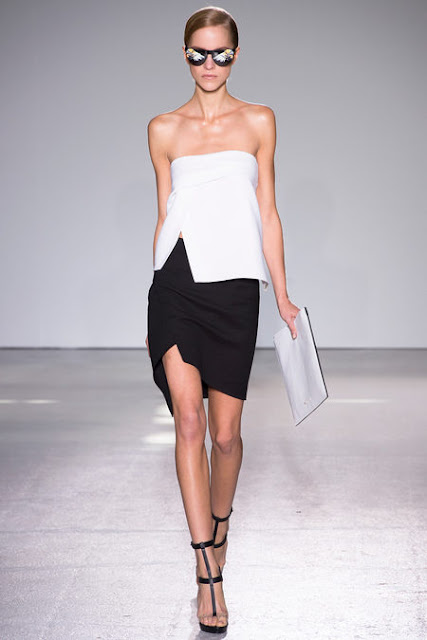 Costume National Paris Fashion Week 2012, Spring 2013 Ready to Wear White geometric blouse, black pencil skirt, black sandals