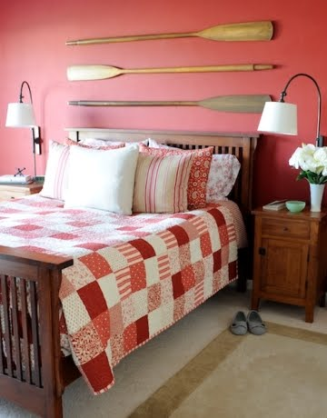 hanging oars above headboard