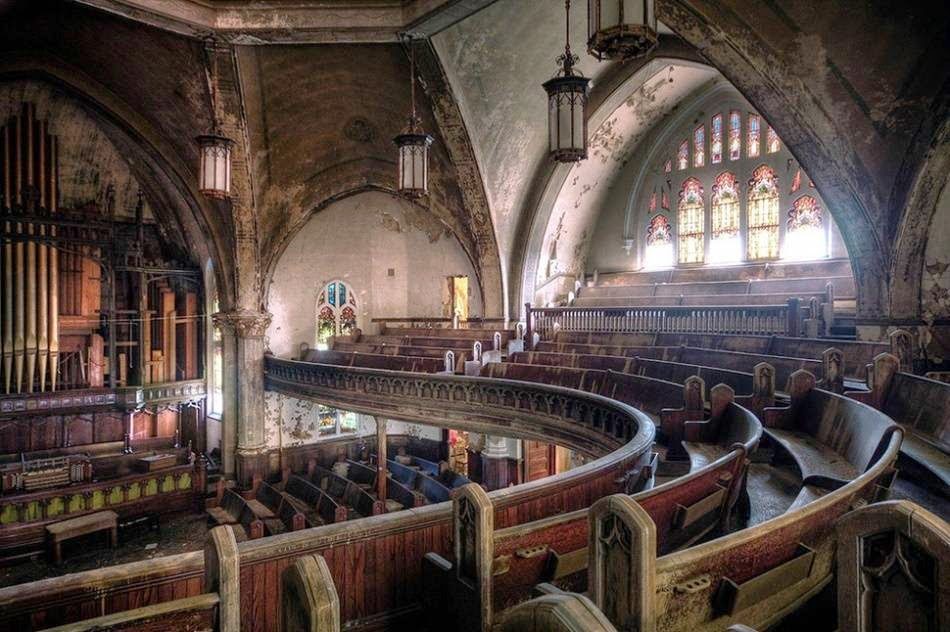 The Presbyterian Church in Detroit destroyed years of neglect. USA