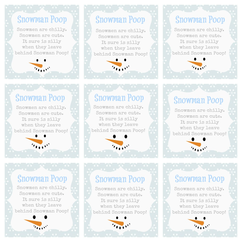 snowman poop poem gift tag | just b.CAUSE