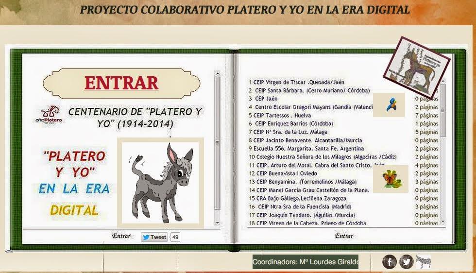 En el curso 2014-15 participamos en el proyecto colaborativo PLATERO Y YO EN LA ERA DIGITAL