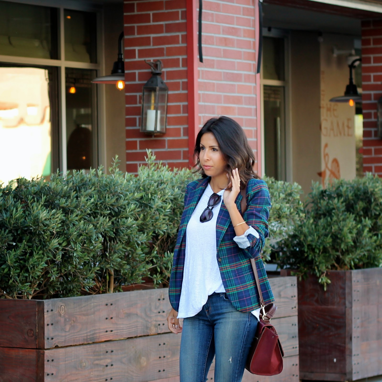 target blazer, fall fashion, how to wear plaid, distressed denim