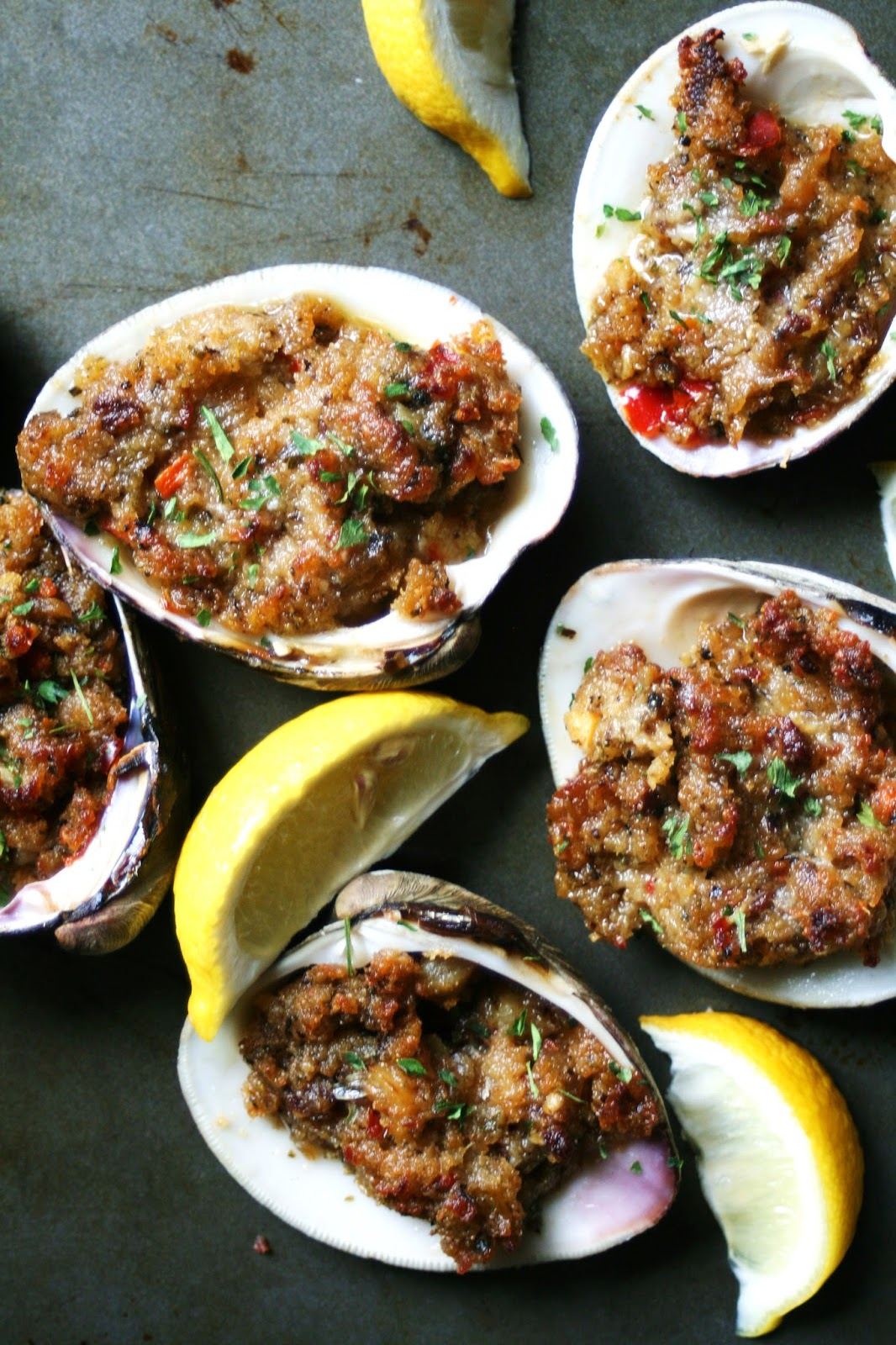 Chorizo Stuffed Baked Quahog Clams