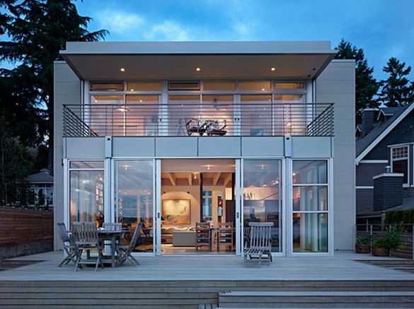 Dream house modern translucent open plan beach house designs for Glass front house plans