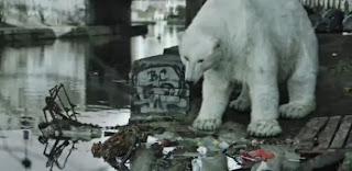 Salve o Ártico- Urso polar real olhando poluição