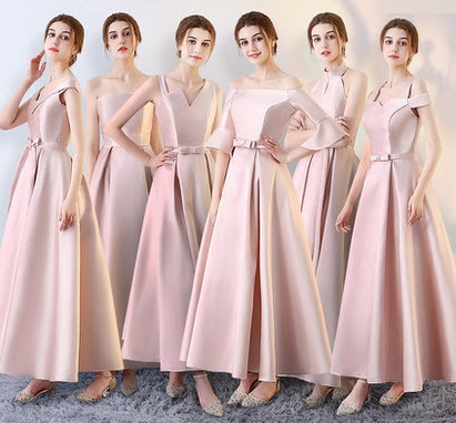2017 6-Design Satin Pink Maxi Bridesmaids