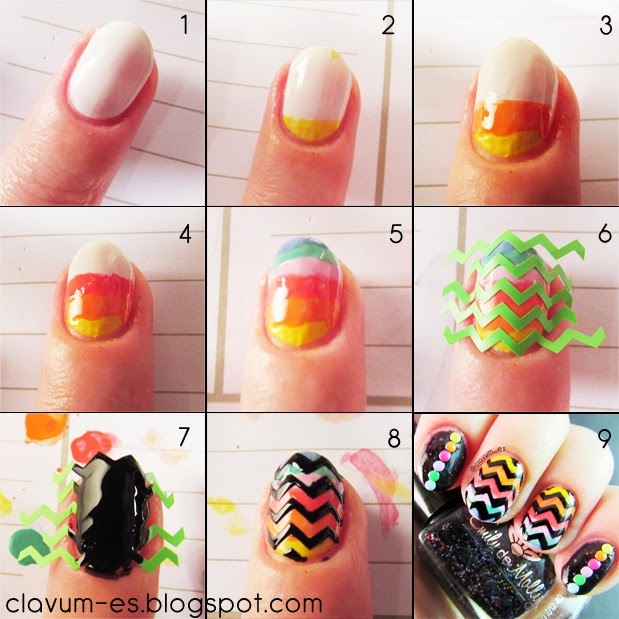 Rainbow Chevron Nail Art Tutorial