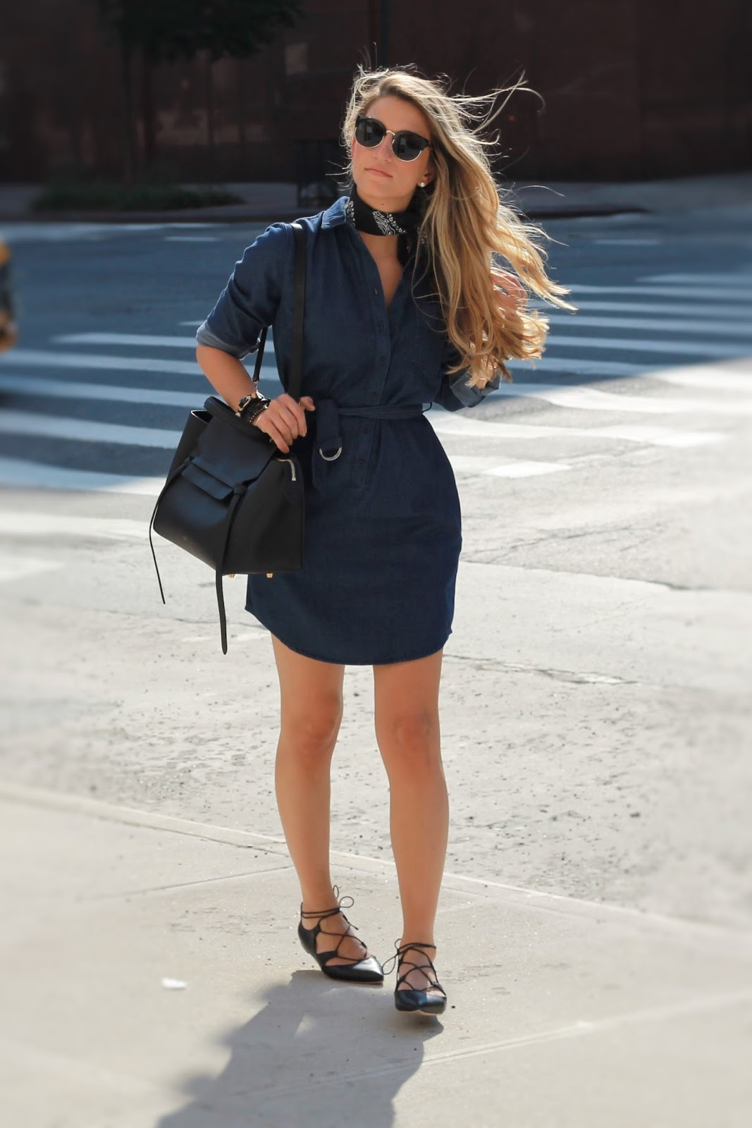 denim shirtdress, leather lace-up flats, dressed for dreams