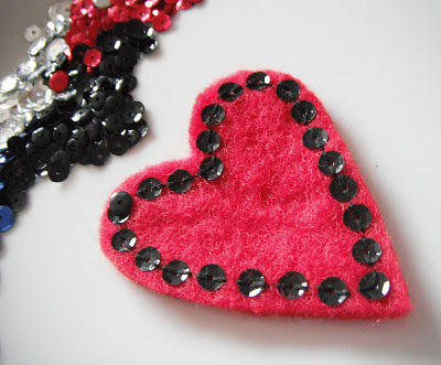 heart brooch and sequins