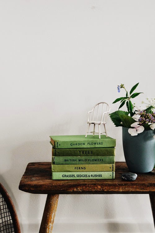 green vintage book vignette via small acorns blog