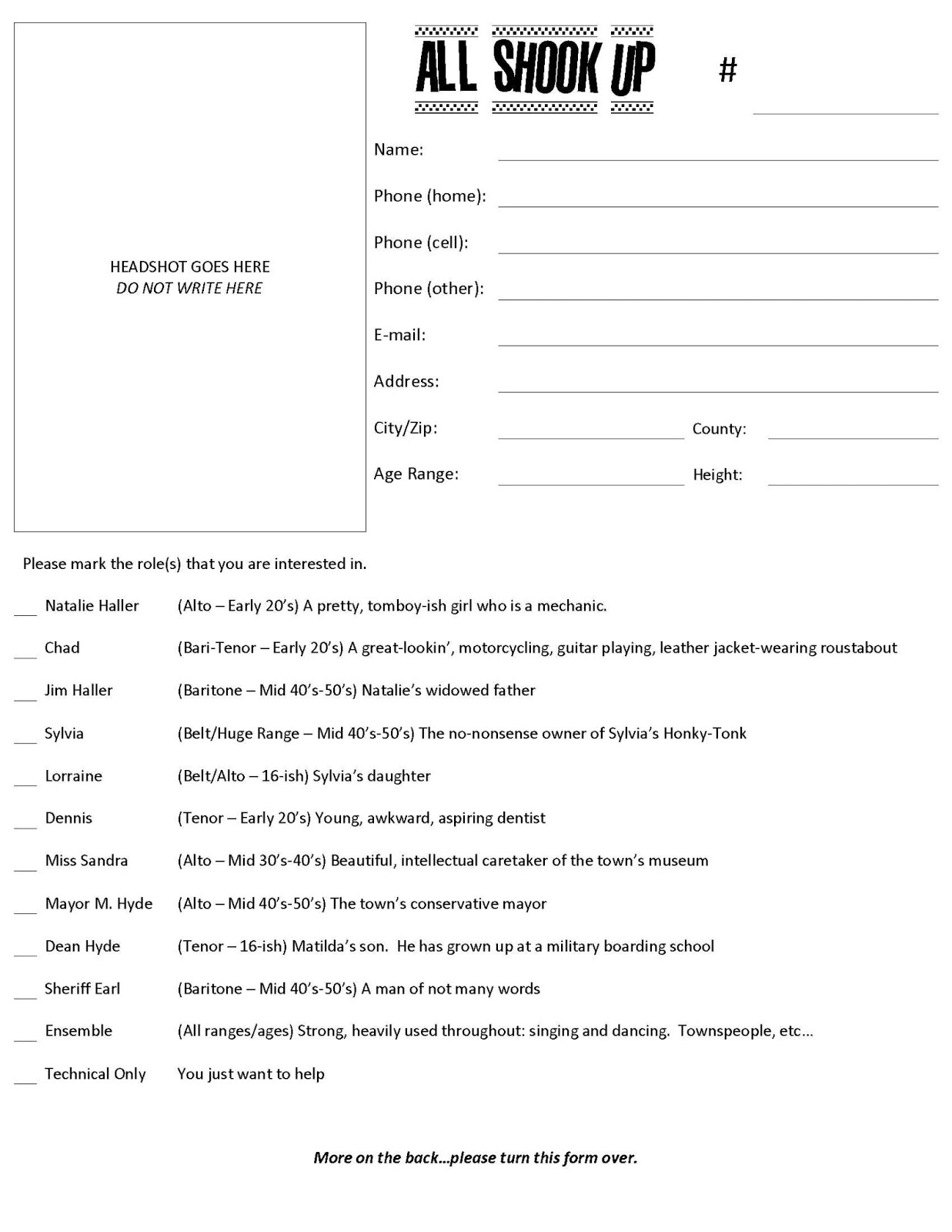 All Shook Up at STG 2013 ASU Audition Form – Audition Form