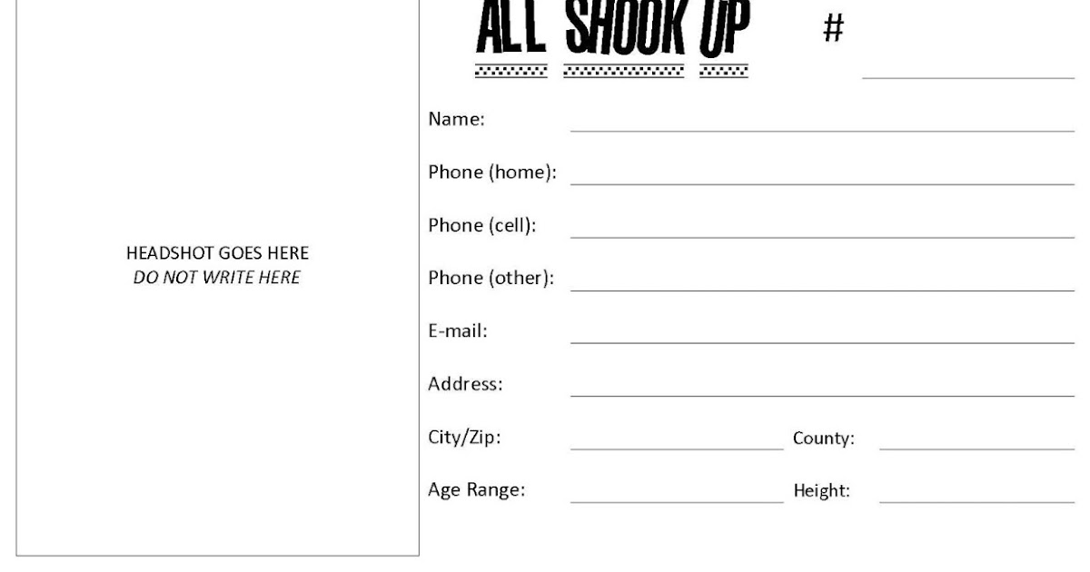 All Shook Up At Stg 2013: Asu Audition Form