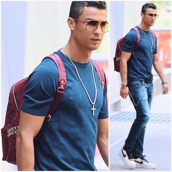Cristiano Ronaldo red MCM Stark leather studded backpack Nike x Riccardo Tisci sneakers New York June 2014
