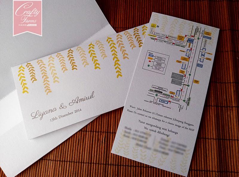 Yellow Floral Pocket Malay Wedding Card, Kad Kahwin Malaysia