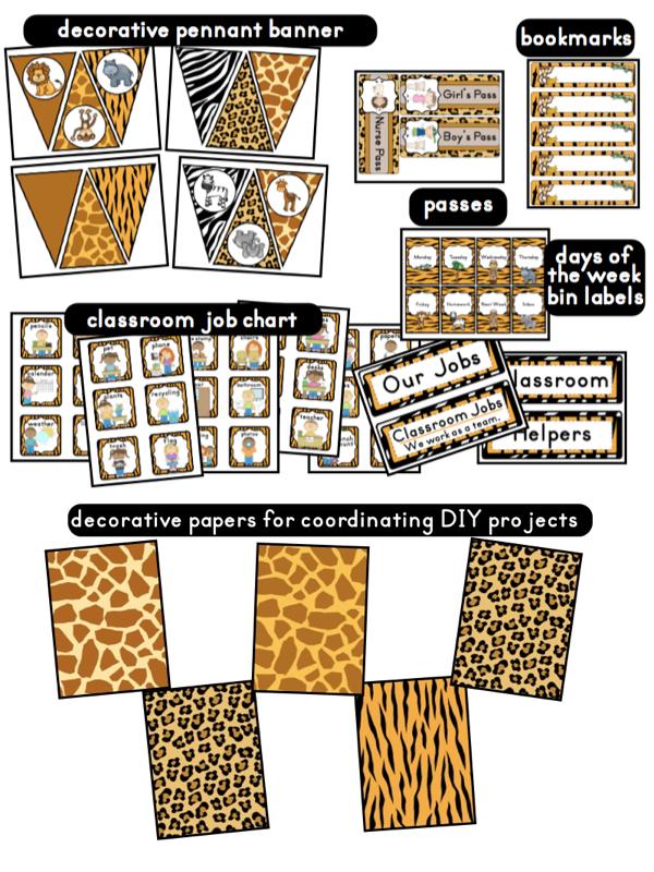 Classroom Decor Printables ~ Jungle safari themed classrooms clutter free classroom