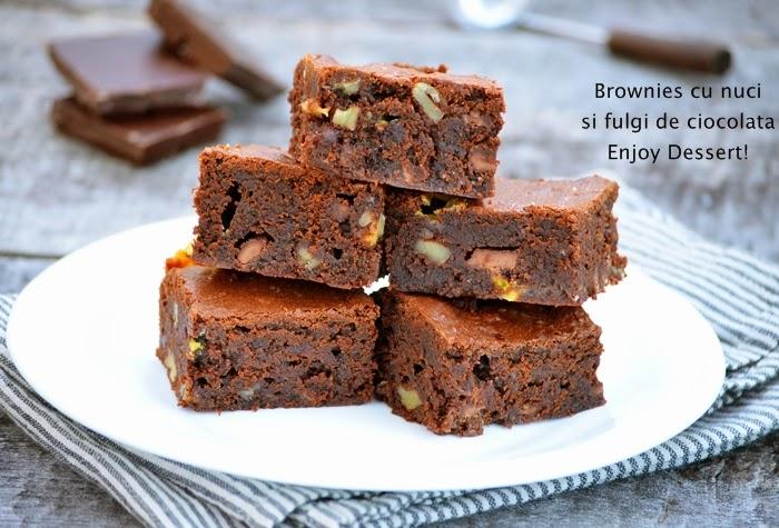 Brownies cu nuci si fulgi de ciocolata