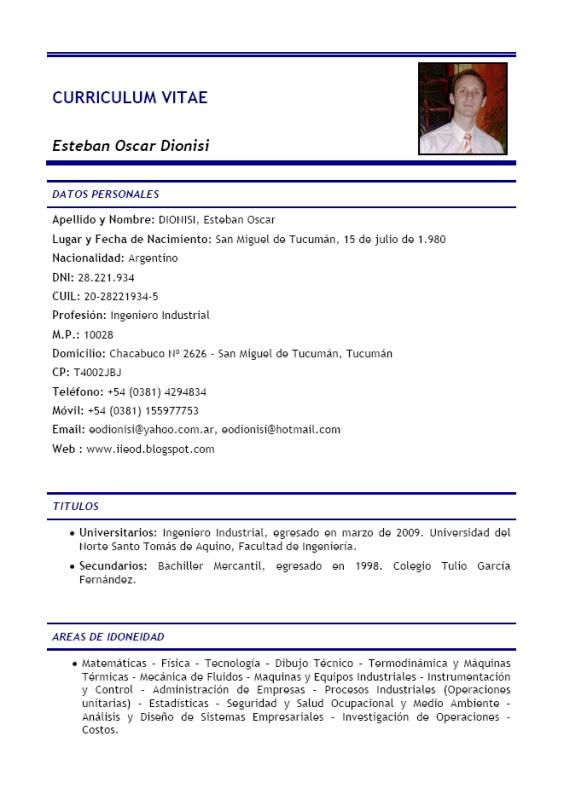 Ing. Industrial Esteban Oscar Dionisi: CURRICULUM VITAE