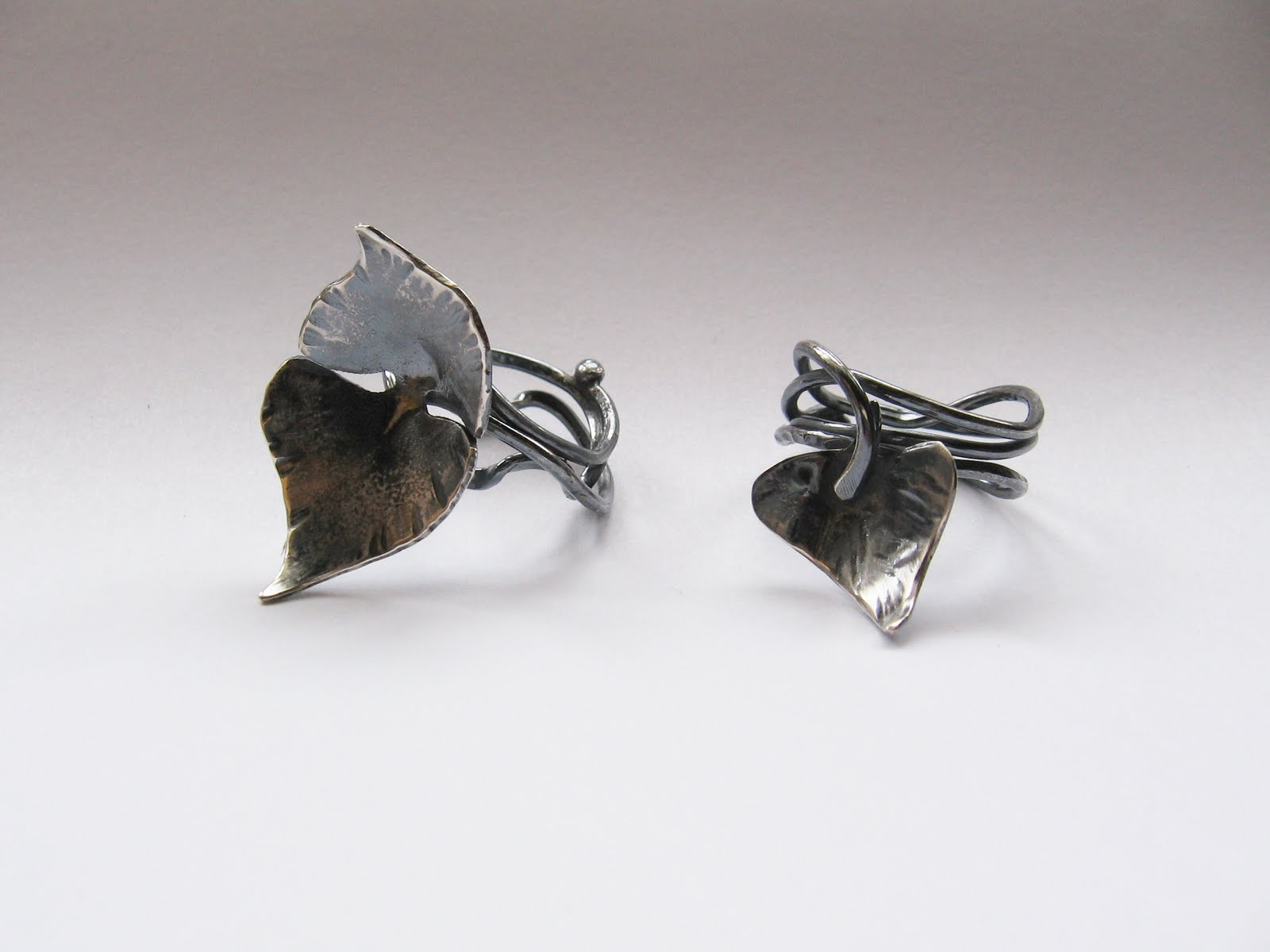 silver patina with ring jewellery michelle rings p bougainvillea leaf contemporary pujol blackening
