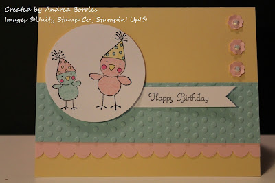 Yellow birthday card with image of two chicks wearing birthday hats. Feminine, pastel colors.