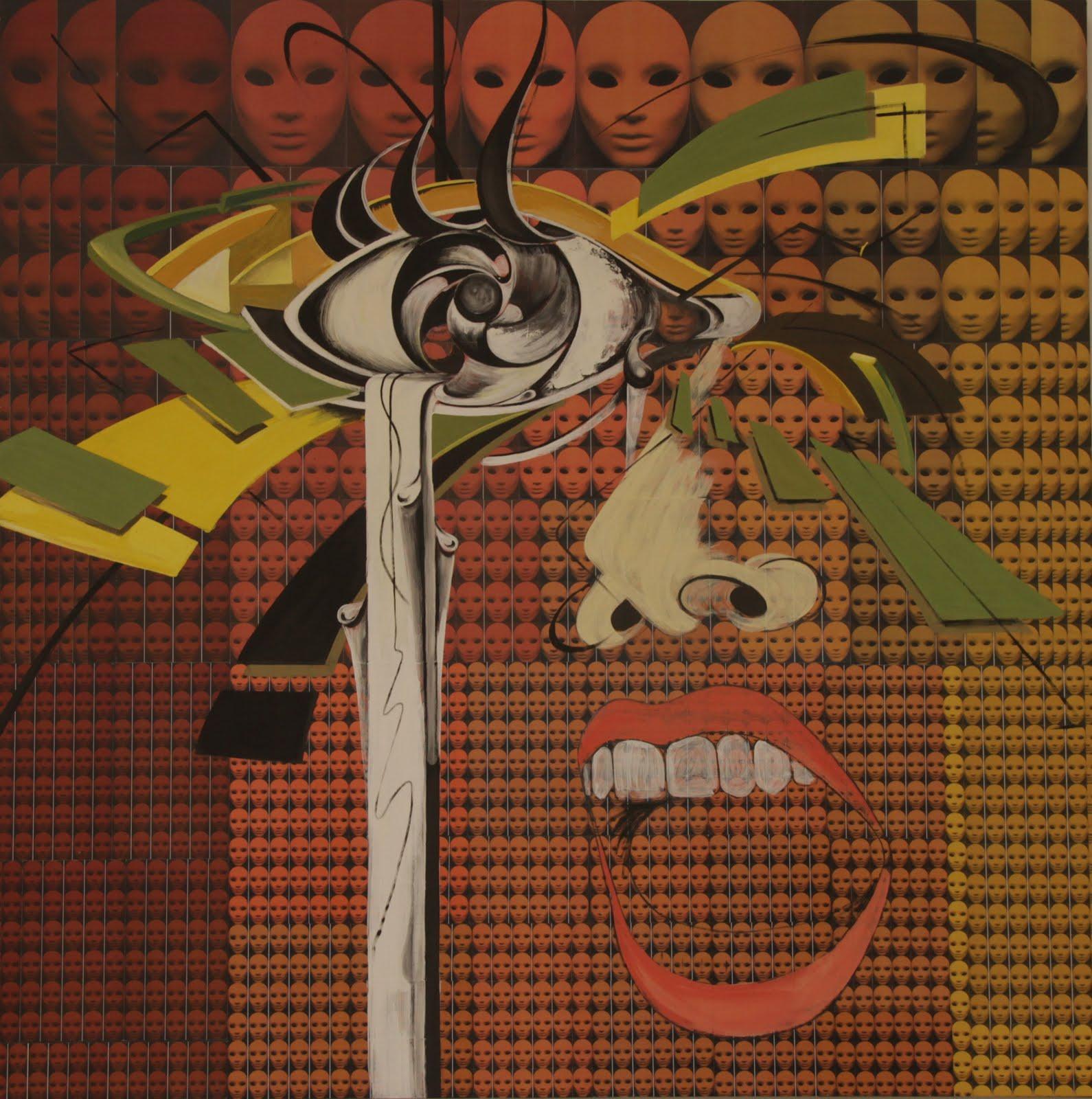 Solange Alves,  Fractal 5 - O Grito do  Silêncio, Colagem/ Acrílica sobre madeira, 140x140 cm.
