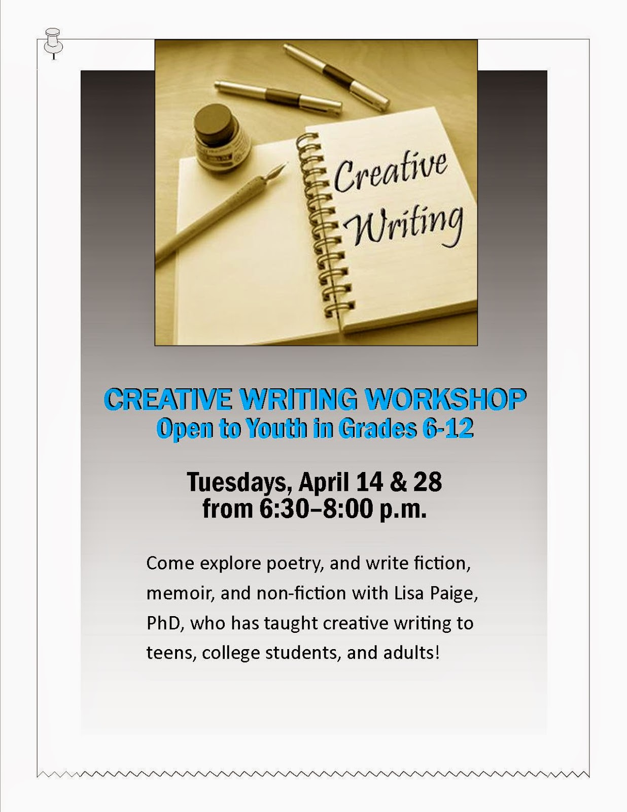 what is a creative writing workshop The workshop helps writers of all genres jumpstart and renew their creativity and lose their fear of the blank page learn how to keep your writing fresh and exciting in beautiful locations with people from all over the world.