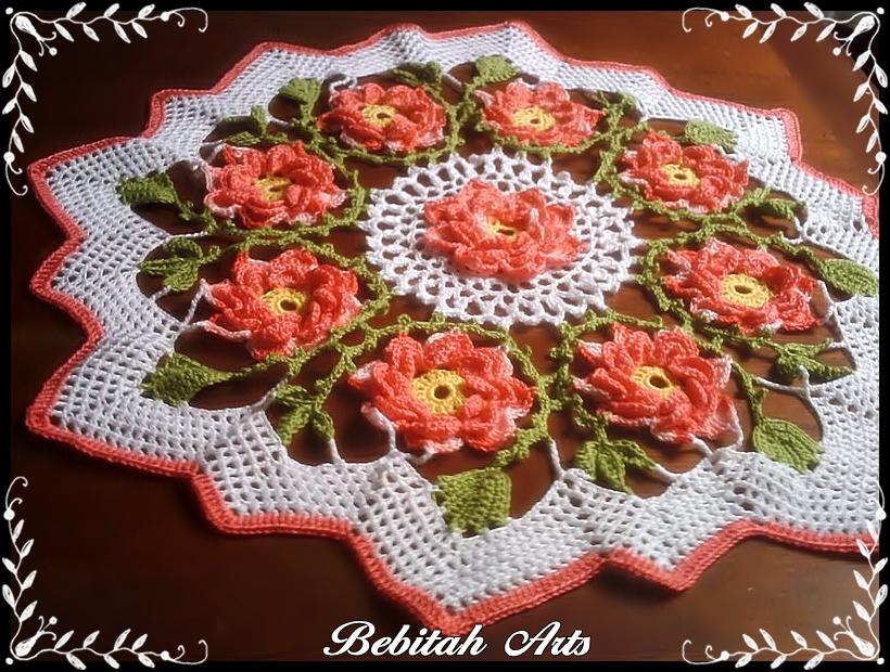 Bebitah Arts: Toalha de croche com flores