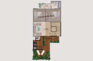 Czar Villas  :: Floor Plans,Type A:-Second FloorServant Room, Open Terrace, Varandah, Expandable Area Area - 120 Sq. Yds. (1890 Sq. Ft.)