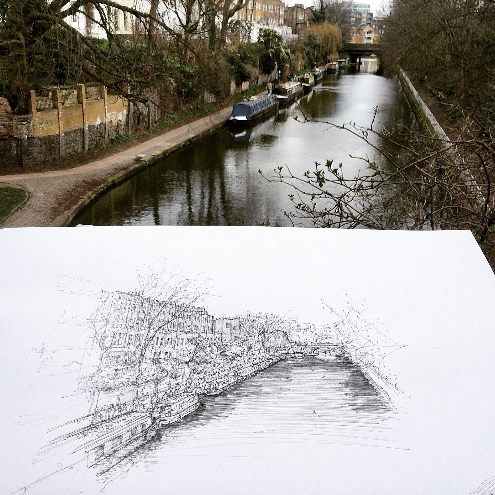 04-Colebrook-Row-Regents-Canal-Luke-Adam-Hawker-Creating-Architectural-Drawings-on-Location-www-designstack-co