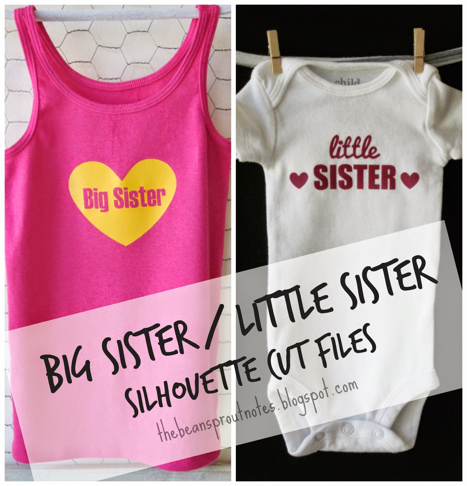 The Bean Sprout Notes Big Sister Little Sister Shirt and esie