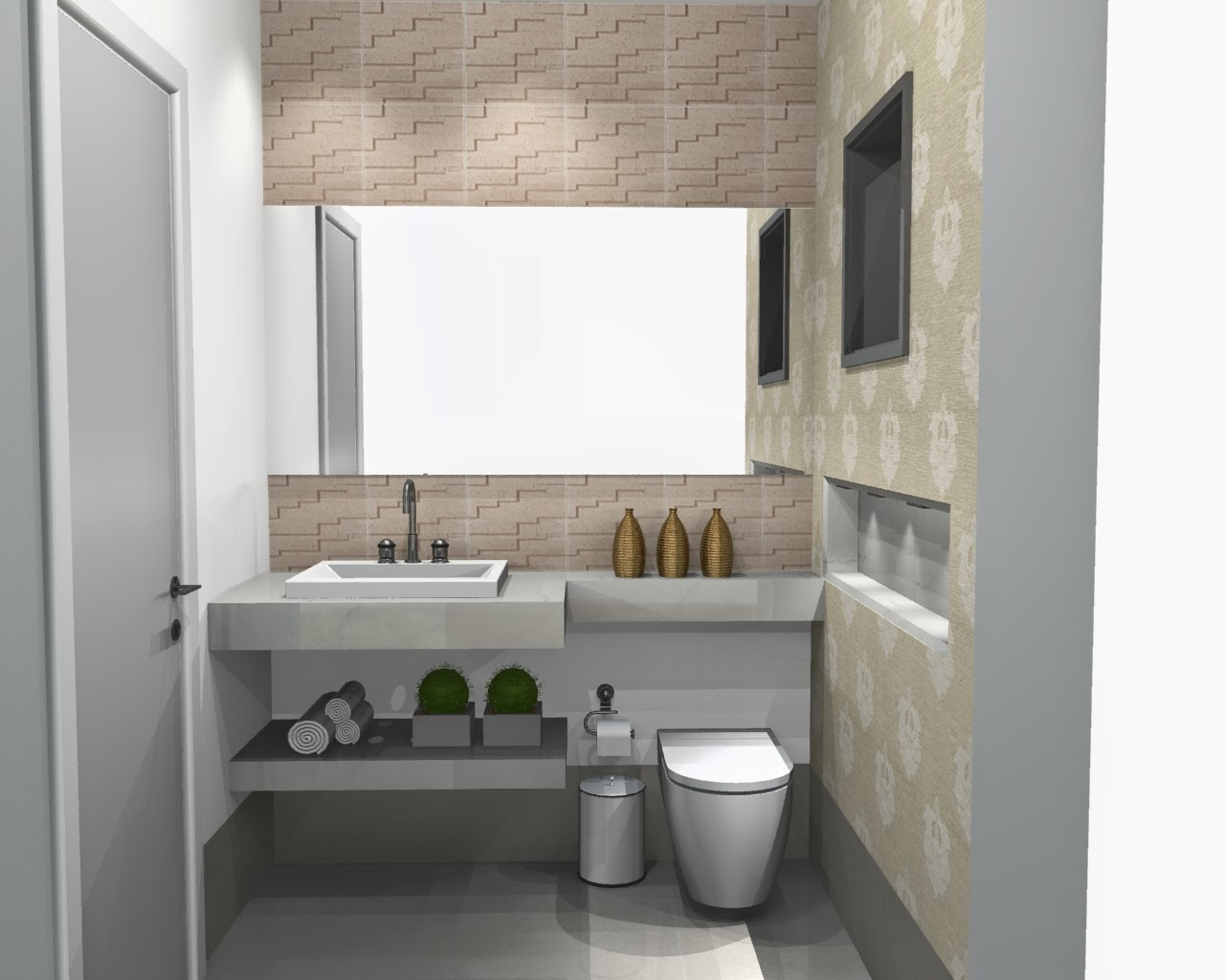 Imagens de #594F3C BANHEIRO 7: Na verdade lavabo de área gourmet. 1280x1024 px 3702 Banheiros Porcelanato Bege