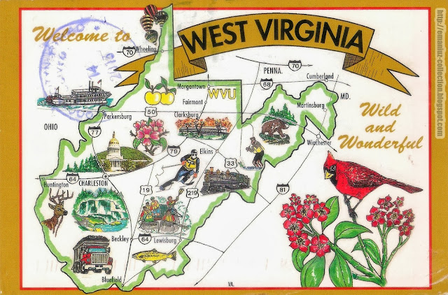 Mapcard | United States of America | West Virginia