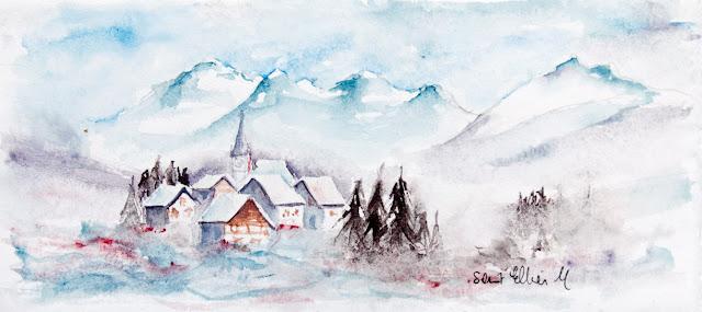 aquarelle village dans la neige