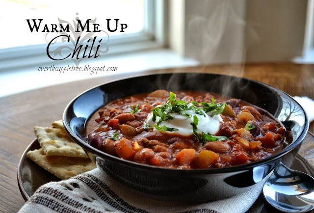 Warm Me Up Chili Recipe, great meal for cold weather by Over The Apple Tree