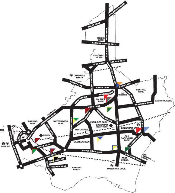 barking  u0026 dagenham map region political