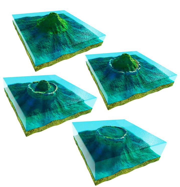 Down to earth wetenschap wegzinkende vulkanen in de stille oceaan - Ontwikkeling rond een zwembad ...