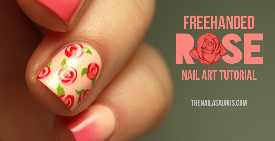 Freehanded Rose Nail Art Tutorial The Nailasaurus Uk Nail Art Blog