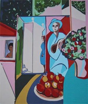 pintura de mulher com flor