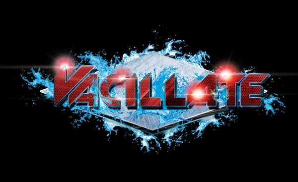 DJ Vacillate Logo Design Red, Silver And Blue Version