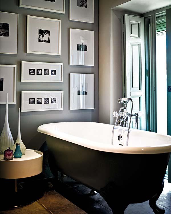 Baños Hermosos Con Tina:Black and White Bathroom Wall Art