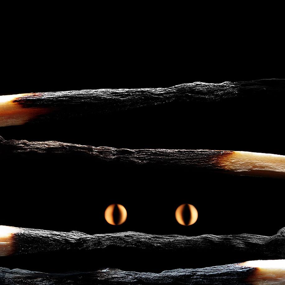 cerillas quemadas y ojos de fuego