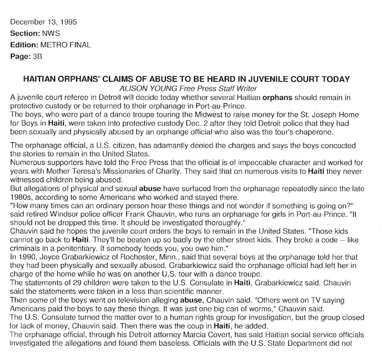 Detroit Free press' archive --Haitian orphans' claims of abuse to be heard in juvenile court today.