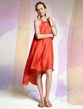 H&M Conscious primavera verano 2014 vestido naranja asimétrico