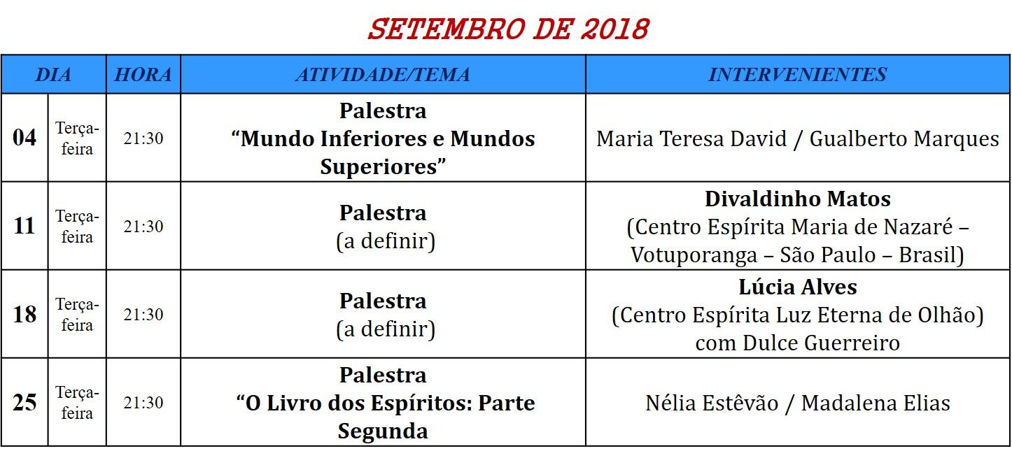 Palestras para o mês de setembro de 2018, na Associação Cultural Espirita Helil - Faro
