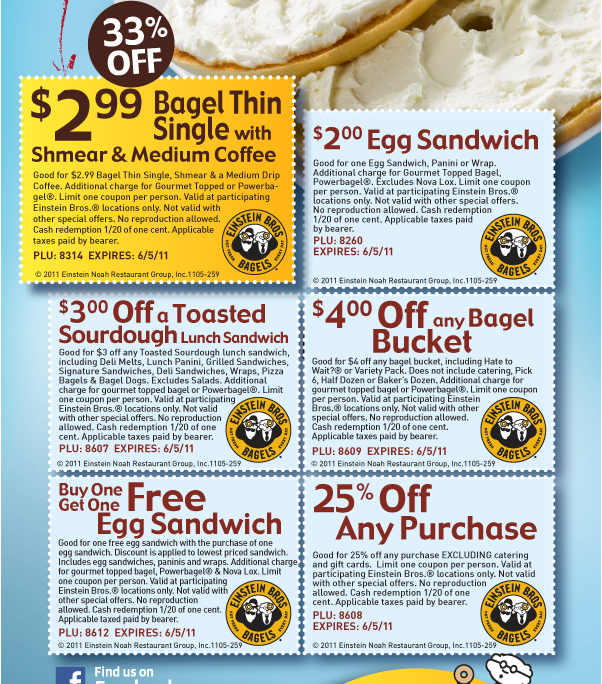 Einstein brothers coupons