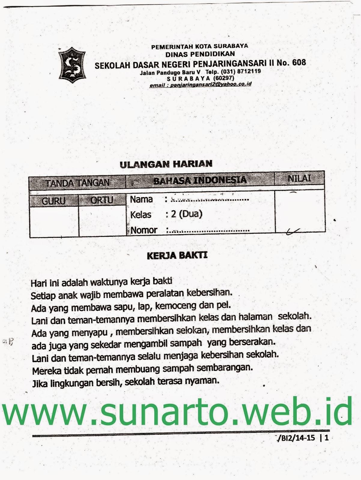 Ulangan Harian Semester Ganjil Bahasa Indonesia Kelas 2 Sd Ta 2014 2015 Kurikulum 2013 Sunarto