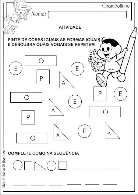 Atividade Interdisciplinar Educação Infantil Turma da Mônica